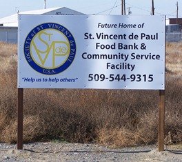 Sign for the site of the new food bank location